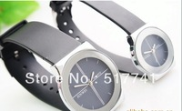 Free Shipping Wholesale Mingbo Steel Quartz Watches for Couple with Black Round Dial in Fashion Design - Silver