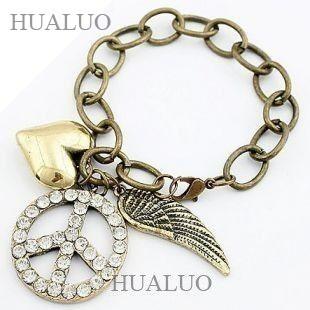 2014 Europe & America New Style Peace Symbol & Wings & Heart Bracelet Hot Sale B122
