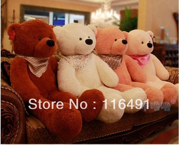 Free shipping HOT GIANT 120cm BIG PLUSH TEDDY BEAR HUGE SOFT 100% COTTON TOY 47  inch teddy bear best birthday gift
