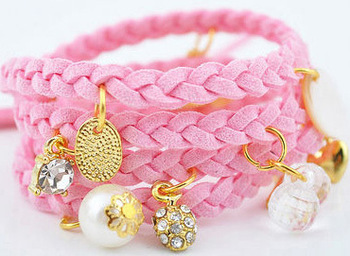 2014 New Fashion Hot-Selling Accessories Spiral Multilayer Pendants Leather Rope Cord Woven Bracelet 66B126 - 66B135
