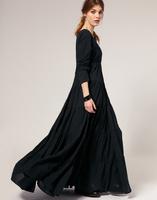 2014 fashion winter long-sleeve full dress elegant V-neck one-piece dress, free shipping