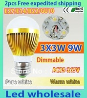Free shipping 2 pcs Dimmable Bubble Ball Bulb AC85-265V 9W E14 E27 B22 GU10 High power Globe light LED  Bulbs LED Lamp Lighting