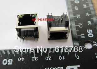50pcs/lot RJ45 network interface with light RJ45+LED RJ45  network socket with light ,free shipping