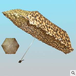 Free Shipping Whosale 500pcs/lot Special!Korean Original Single Cute Leopard Pattern Umbrella Rain Ultralight 6K Three Folding