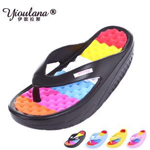2015 new summer women's shoes platform wedges slimming swing shoes sandals for women high heels hole shoes flip flops