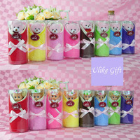 Free shipping(16pcs/lot),Pure cotton cake towels,Cute little bear&barbie towels,Novelty Christmas/Wedding gift,2pcs towels,UK041