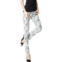 Autumn/Winter High Grade Romantic Florets Flowers Printing Elastic Trousers,Lady's Sexy Pencil Pants/Leggings/Jeans Skinny Pants
