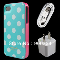 High Quality Blue Color White Dots Back Case Cover+USB Cable+Wall Charger For iPhone 4G 4S+ Free Shipping