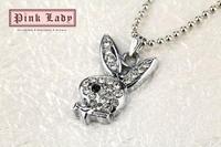 W19b Cute Festival items Crystal Bunny Rabbit Pendant Charm Necklace