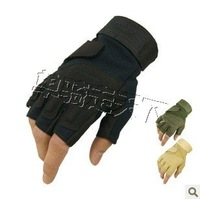 Army Half Finger Paintball Game Tactical Fingerless Gloves M L XL Black + free shipping