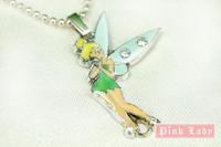 W01b Cute Angel Fairy Tinker Bell Charm Pendant DIY Alloy  Metal Necklace