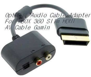New Optical Audio Cable Adapter For XBOX 360 Slim HDMI AV Cable Gamin RCA Audio adapter for non-HDMI supported stereo systems
