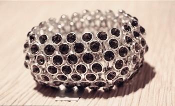 Charm jewelry ornament shinny crystal stretch alloy bracelet bangles famous brand tension bracelet 1lot/10pcs