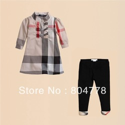 new arrival classic summer children girl 2pcs cloth sets kid plaid blouse shirt+black pnat 6pcs/lot(China (Mainland))