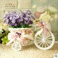 Free shipping,Beautiful tricycle woven artificial flower set Decorative Flowers(China (Mainland))