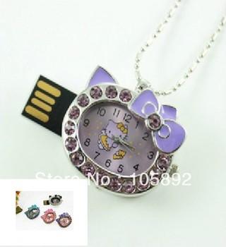 Free shipping hello kitty clock shape usb flash drive memory stick thumb drive pen usb