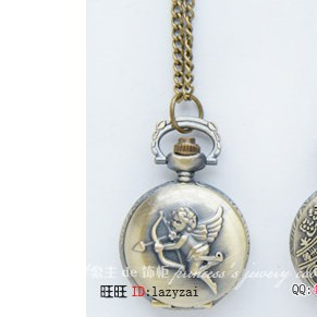 Free Shipping Small cupid fashion royal vintage pocket watch pocket watch necklace table antique brass necklace