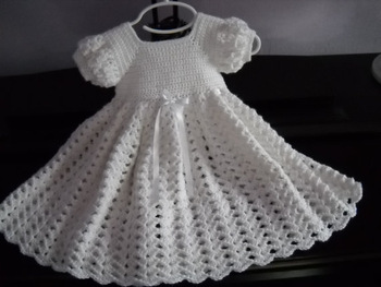 Crochet White Baby Dress, Infant Baptism Blessing Christening Dress lace & Hollow crochet princess dress kids dresses girls