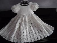 Crochet White Baby Dress, Infant Baptism Blessing Christening Dress lace & Hollow crochet princess dress kids dresses girls