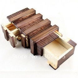 1x triple magic IQ box secret lock Magic Wooden gifts box Brain Teaser Puzzle Toy(China (Mainland))
