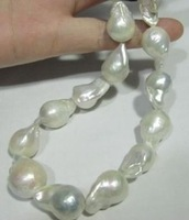 """8X12MM Nanhai white baroque pearl necklace 18 """"AAA +"""