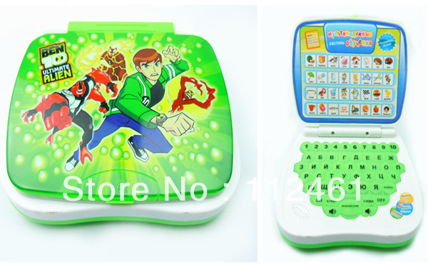 Promotion Ben 10 Children Russian laptop computer learning machine table farm enlighten educational toys Free shipping 1pcs(China (Mainland))