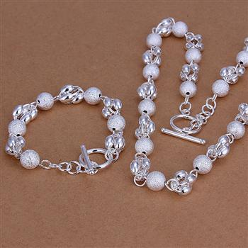 S185 2013 New Wholesale Silver Plated 10mm Beads Necklace Bracelet Jewelry Sets Free Shipping(China (Mainland))