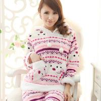free shipping Christmas sleepwear coral fleece autumn and winter thick berber fleece long-sleeve women's sleepwear home