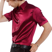free shipping 2013 Wine red faux silk silks and satins slim fashion men's short-sleeve shirt solid color men's clothing shirt
