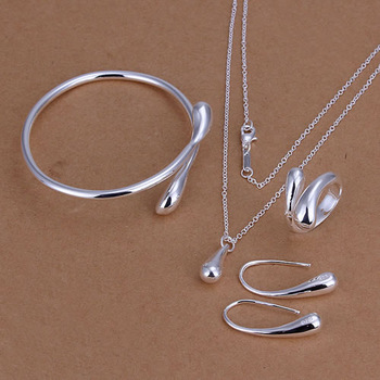 Lose Money Promotions! 925 silver jewelry set, fashion jewelry set Droptear Ring Earrings Bracelet Necklace Jewelry Set S222