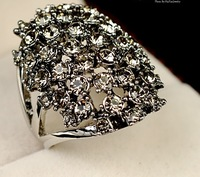 Personality fashionable female retro palace forefinger gray crystal ring