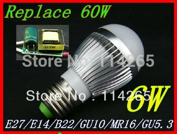 Dimmable E27 E14 B22 socket  6w 3X2W AC85-265V warm / cold white LED bubble ball bulb corn light Fedex DHL