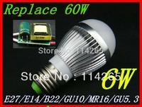 Dimmable E27 E14 B22 socket  6w 3X2W AC85-265V warm / cold white LED bubble ball bulb corn light Fedex DHL