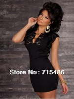 ML17511New Style Womens Ladies Wear Short Mini Blackless Dress Leather Dresses Cheaper Price Clothing