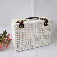 KINGART Rustic white suitcase Large storage box picnic basket