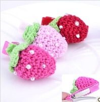 Free Shipping Wholesale 120pcs /lot WY baby's Children kids BB folder knitting Strawberry beading Hair Clips