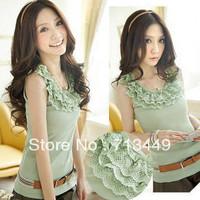2013 spring female basic shirt lace basic shirt lace decoration vest spaghetti strap
