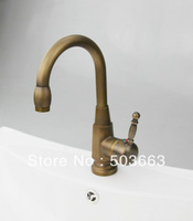 Single Hole Deck Mounted Antique Brass Mixer Waterfall Faucet Bathroom Basin Mixer Sink Tap Basin Faucet Vanity Faucets L-0182