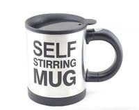 Free shippping  Automatic coffee mixing cup/mug stainless steel self stirring electic coffee mug 350ml S636