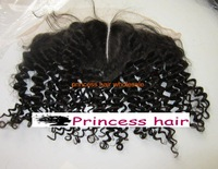 Curly Indian hair lace frontal with middle parting