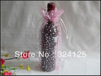 Free shipping wholesale 50pieces pink star 35x14cm wine bottle organza bags wedding party candy gift bags
