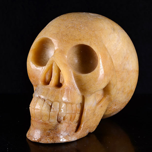 "5"" Natural Yellow Aventurine Carved Skull Carving #7H81,Crystal Healing gift(China (Mainland))"