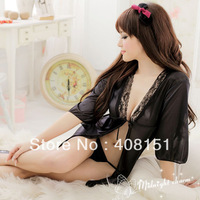 Sexy Lingerie babydoll Lady satin sexy cardigan dress lingerie