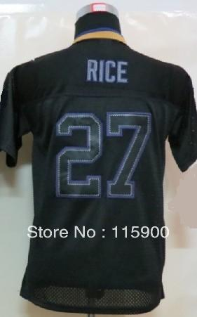 2013 new arrival kids #27 rice #82 smith #55 suggs #5 flacco black lights out youth Football Jerseys(China (Mainland))