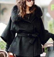 Free Shipping Real Fox Fur Collar Women's Long Black Coat Fur Jacket Wool Clothes Plus Size Wholesale