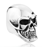 high quality wholesale men's smooth jewelry huge & heavy skull ring in 316L stainless steel for men bikes via free shipping