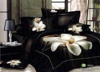 White Orchid Black Bedsheet 3d Bedding Sets Queen King Size 4pcs Flowers comforter/duvet cover bedlinen bedclothes cotton