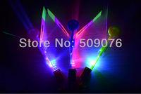 free shipping 10pcs/lot 16.8*2.2cm blue light led arrow helicopter flashing arrow amazing flying arrow helicopter novelty toy