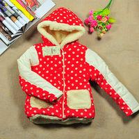 Sunlun winter girls thick fleece dot cotton coat children padded jacket warm pocket outwear for children free shipping SCG-2033