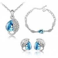 Fashion Jewelry Beautiful Crystal Jewelry Set (Necklace Earrings Bracelet + +)  Acacia leaves  P168